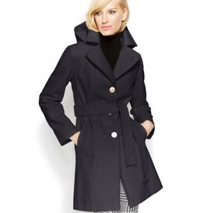 Michael Kors button front hooded wool jacket